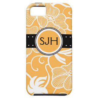 Personalized Orange Tropical Floral Blossoms iPhone 5 Case