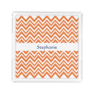 Personalized Orange Zigzag Pattern Acrylic Tray