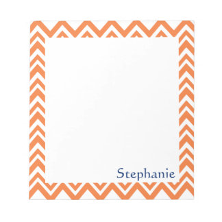 Personalized Orange Zigzag Pattern Notepad