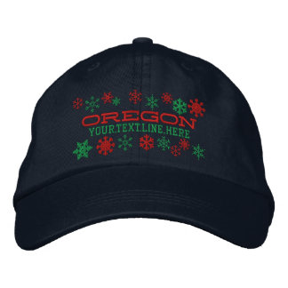 Personalized Oregon Winter Snowflakes Embroidered Cap
