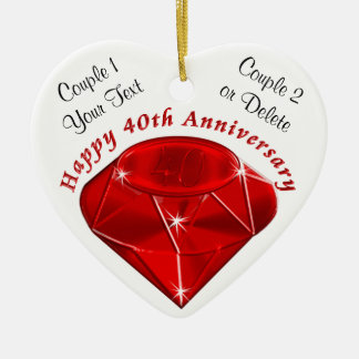 Personalized Ornament Ruby 40th Anniversary Gifts