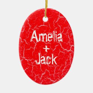 Personalized Oval Grunge Ceramic Ornament