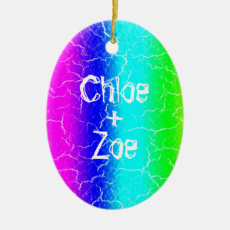 Personalized Oval Rainbow Ceramic Ornament