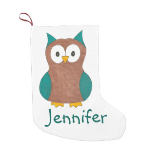 Personalized Owl Bird Print Christmas Stocking