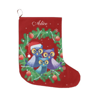 Personalized owl family wreath red large christmas stocking