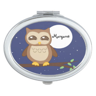 Personalized Owl in Tree Compact Mirrors