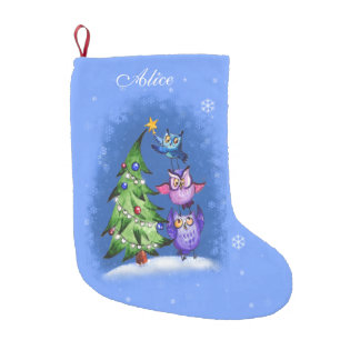 Personalized owls christmas tree small christmas stocking