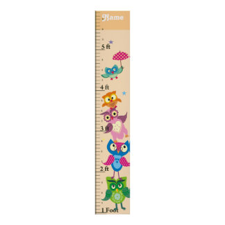 Personalized owls Growth Chart Poster