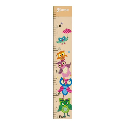 Personalized owls Growth Chart Print