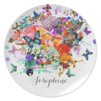 Personalized Paint splash Butterflies Pop Art Plate