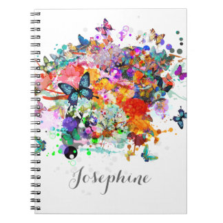 Personalized Paint splash Butterflies Pop Art Spiral Notebook