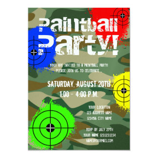 Personalized paintball party invitations