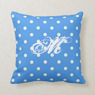 Personalized Pale Blue Polka  Dot cushion