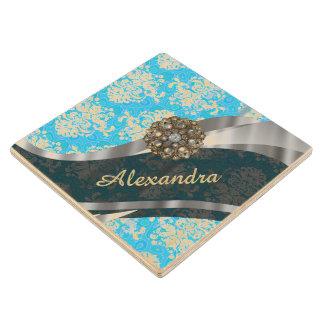 Personalized pale blue pretty girly damask pattern wood coaster