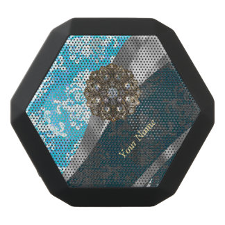 Personalized pale blue vintage damask pattern black bluetooth speaker