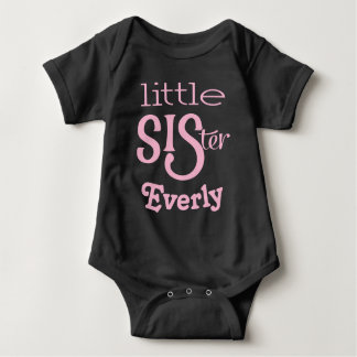 Personalized Pale Pink on Black Little Sister Baby Bodysuit