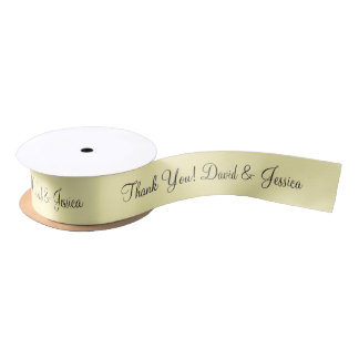 Personalized pale yellow wedding favor ribbon satin ribbon