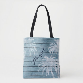 Personalized Palm Trees on Rustic Wood Beach Tote Bag