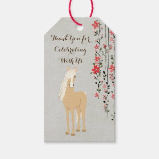 Personalized Palomino Pony Flowers Horse Birthday Gift Tags