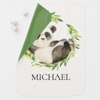Personalized Panda Bear Baby Receiving Blanket