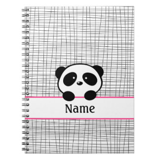 Personalized Panda Bear Pink Black Notebook
