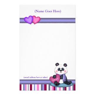 Personalized Panda Bear & Stripe Stationery
