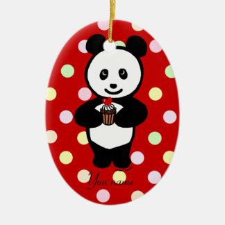 Personalized Panda Cartoon and Polka Dots Christmas Ornament