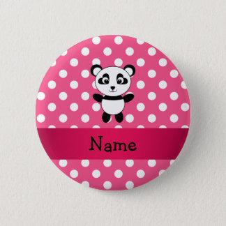 Personalized panda pink white polka dots 6 cm round badge