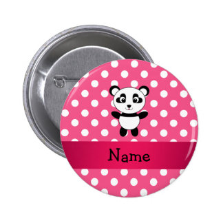 Personalized panda pink white polka dots 6 cm round badge