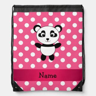Personalized panda pink white polka dots drawstring bag