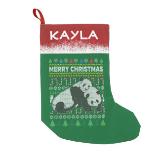 Personalized Pandas Wildlife Christmas Sweater Small Christmas Stocking