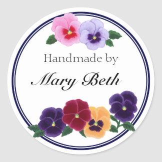 Personalized Pansies Floral Handmade Label Round Sticker
