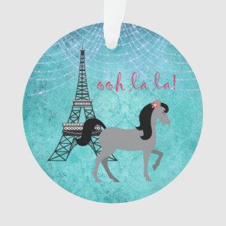 Personalized Paris Pony Oh La La Grey Horse Ornament