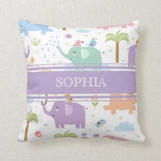 Personalized Pastel Elephants Pillow