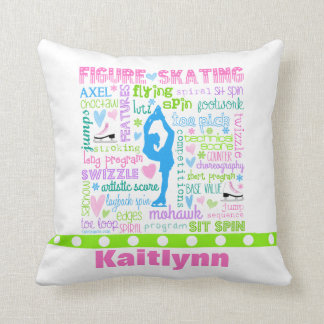 Personalized Pastel Figure Skater Words Typography Throw Pillow