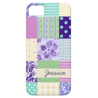 Personalized Pastel Girly pattern squares Case For The iPhone 5
