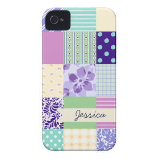 Personalized Pastel Girly pattern squares iPhone 4 Case