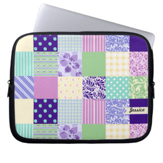 Personalized Pastel Girly pattern squares Laptop Sleeve