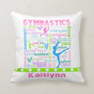 Personalized Pastel Gymnastics Words Typography Throw Pillow