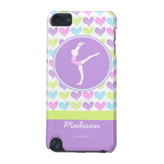 Personalized Pastel Hearts Gymnastics iPod Touch (5th Generation) Covers