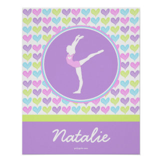 Personalized Pastel Hearts Gymnastics Poster