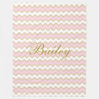 Personalized Pastel Pink Gold Chevron Baby Girl Fleece Blanket