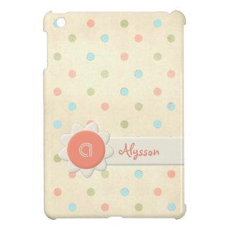Personalized Pastel Polka Dot Monogram with Name iPad Mini Cases