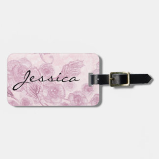 Personalized Pastel Purple Floral Luggage Tag