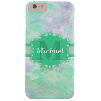 Personalized Pastel Watercolors Name and Monogram Barely There iPhone 6 Plus Case