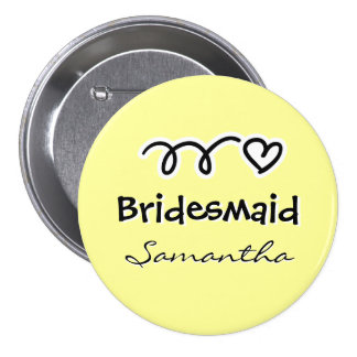 Personalized pastel yellow bridesmaid buttons