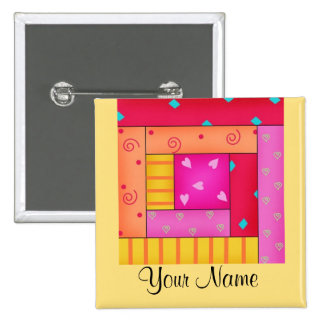 Personalized Patchwork Quilt Block Art Pins