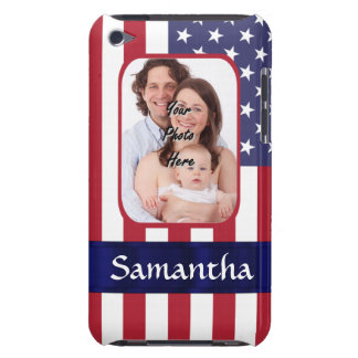 Personalized Patriotic American flag Barely There iPod Cover