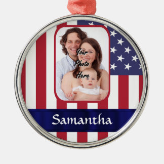 Personalized Patriotic American flag Christmas Ornament