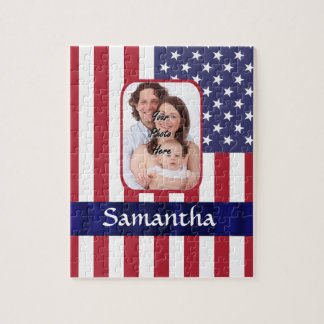 Personalized Patriotic American flag Jigsaw Puzzle